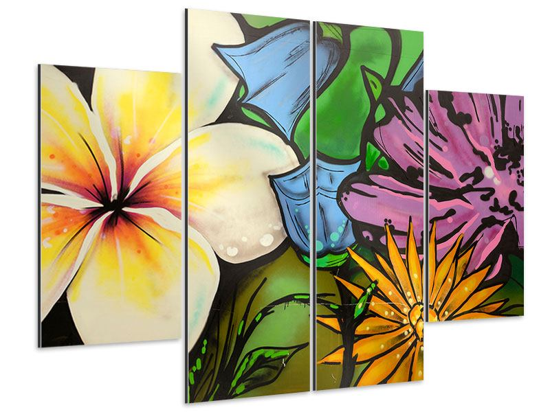 Aluminiumbild 4-teilig Graffiti Flowers