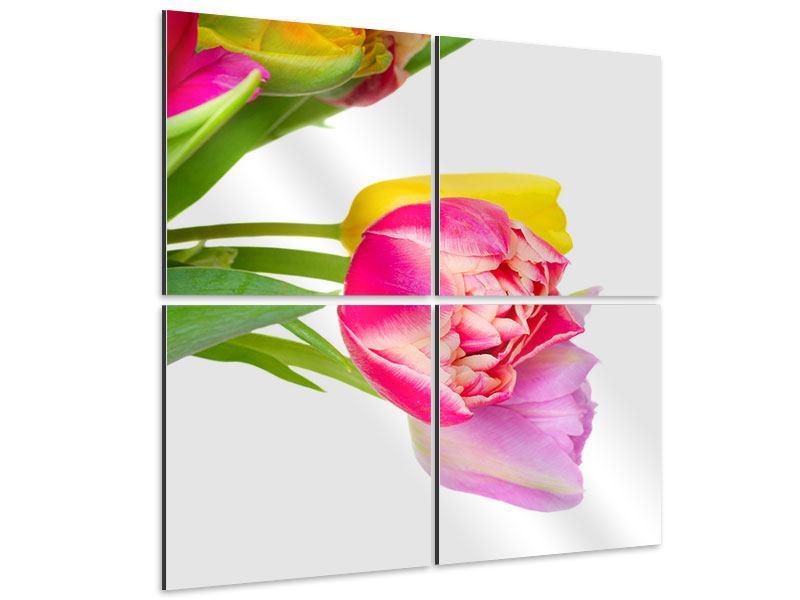 Aluminiumbild 4-teilig Ein bunter Tulpenstrauss