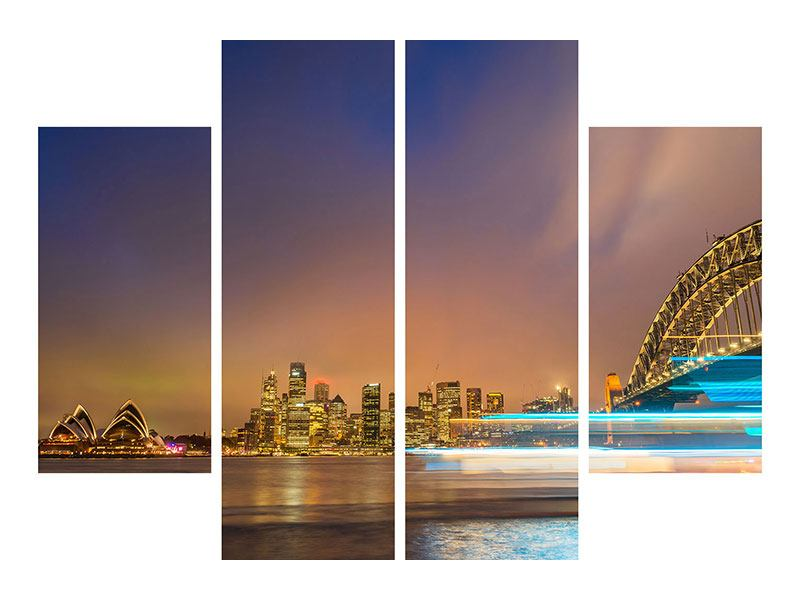 Aluminiumbild 4-teilig Skyline Opera House in Sydney im Abendlicht