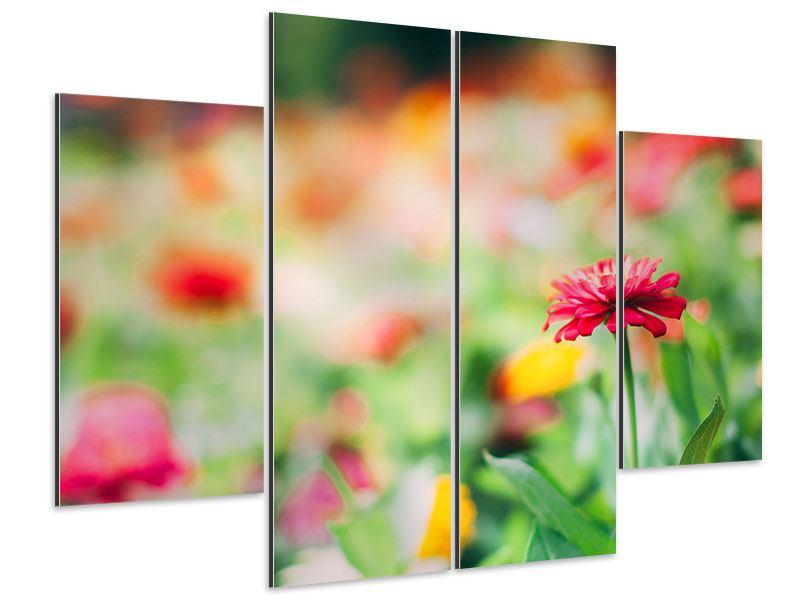 Aluminiumbild 4-teilig Im Blumengarten