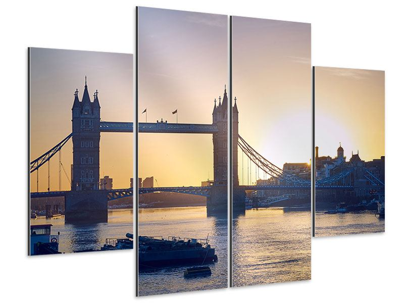Aluminiumbild 4-teilig Tower Bridge bei Sonnenuntergang