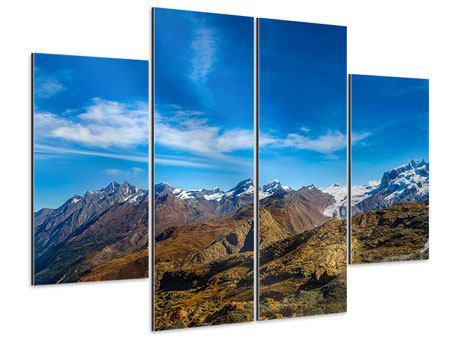 Aluminiumbild 4-teilig Schweizer Alpen im Frühling