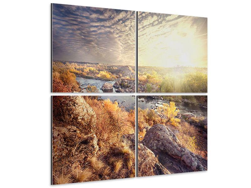 Aluminiumbild 4-teilig Sonnenaufgang am Fluss