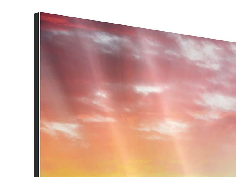 Aluminiumbild 4-teilig Skyline London im Abendrot
