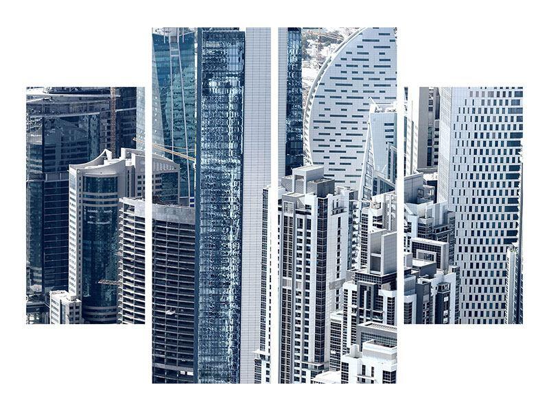 Aluminiumbild 4-teilig Die Wolkenkratzer von Dubai