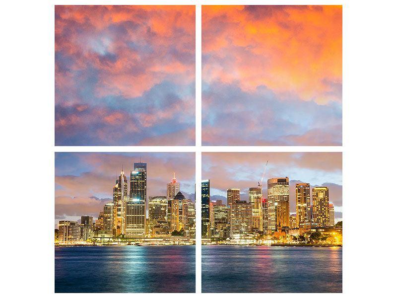 Aluminiumbild 4-teilig Skyline Das Lichtermeer von Sydney