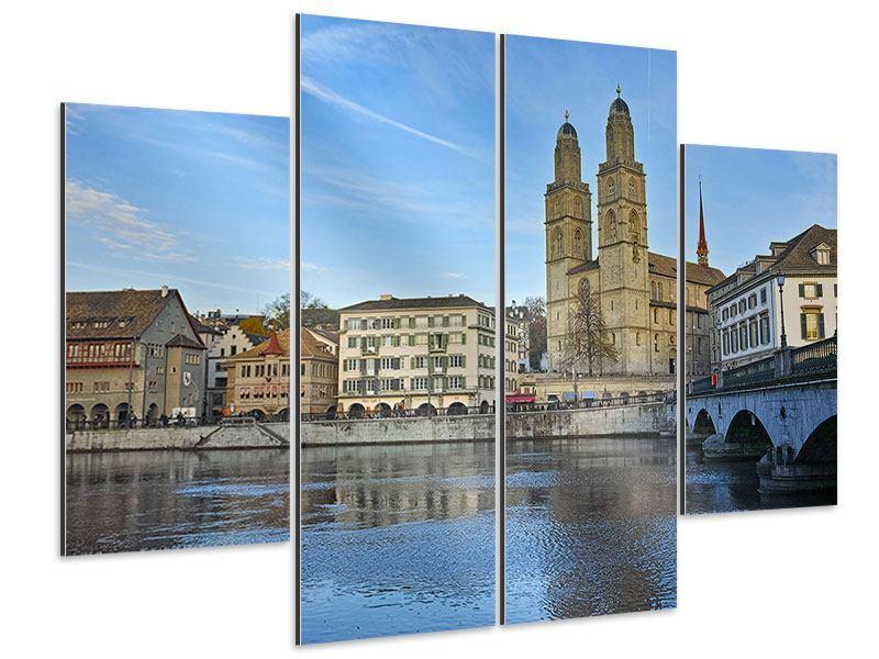 Aluminiumbild 4-teilig Die Altstadt von Zürich