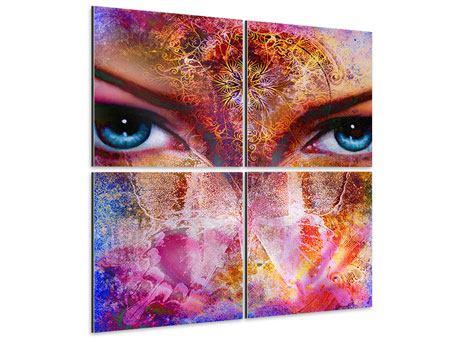 Aluminiumbild 4-teilig Psychedelic Face