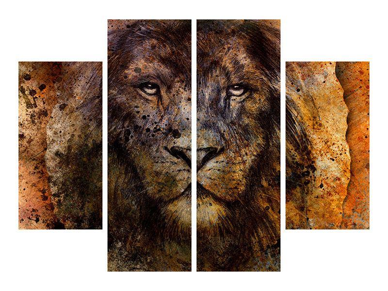 Aluminiumbild 4-teilig Portrait eines Löwen