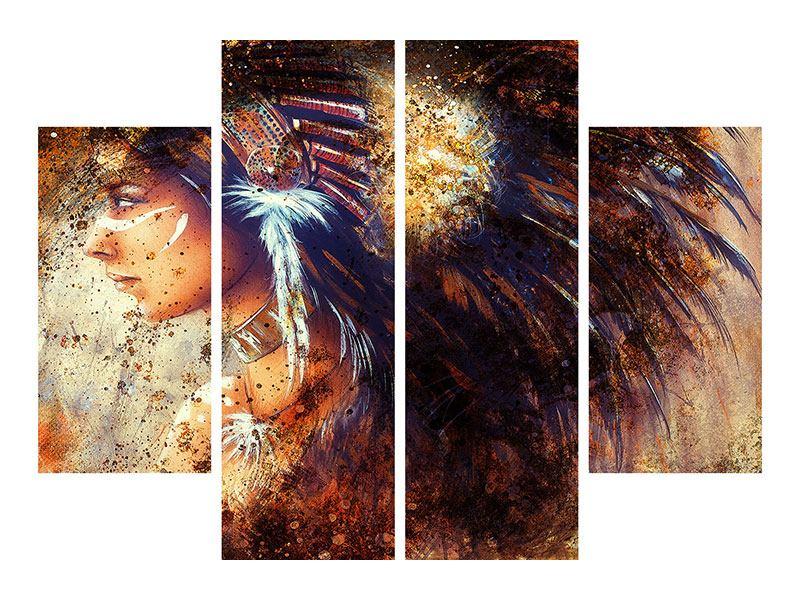 Aluminiumbild 4-teilig Indianer