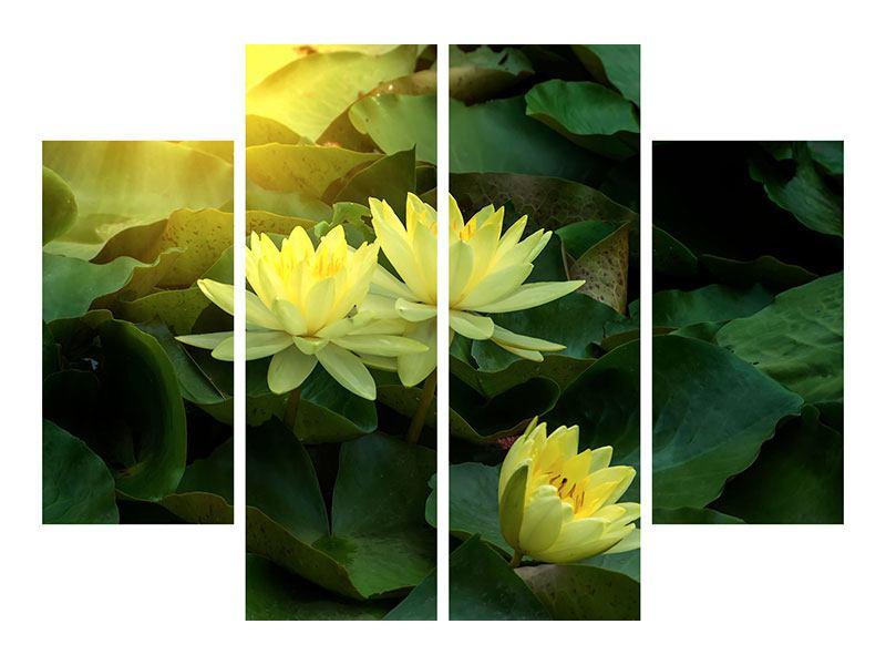 Aluminiumbild 4-teilig Wilde Lotus