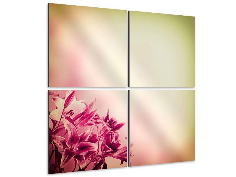 Aluminiumbild 4-teilig Colored Lilien