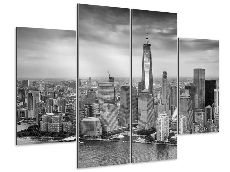 Aluminiumbild 4-teilig Skyline Schwarzweissfotografie New York