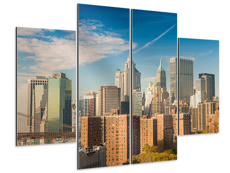 Aluminiumbild 4-teilig Skyline New York
