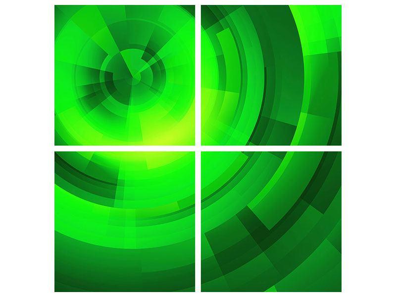 Aluminiumbild 4-teilig Perspektiven in Grün