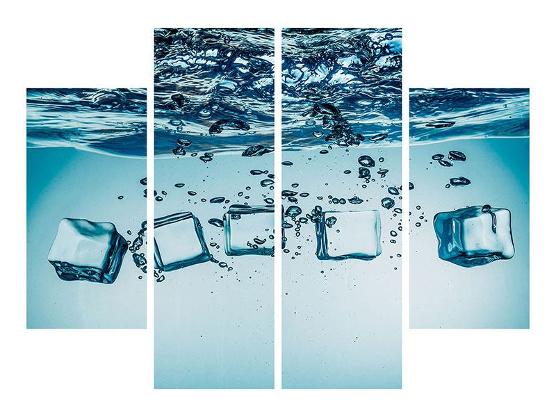Aluminiumbild 4-teilig Eiswürfel-Quadro