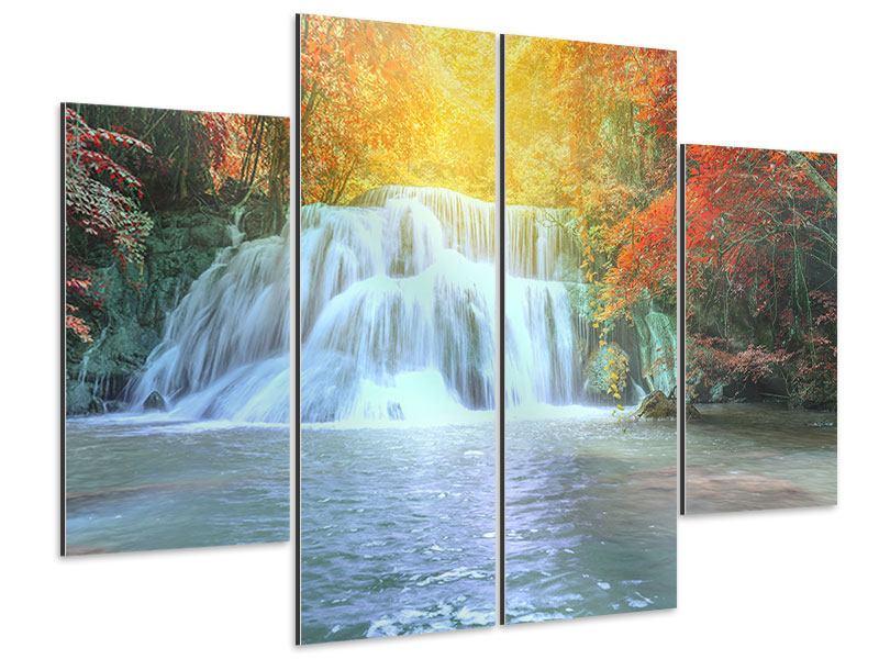 Aluminiumbild 4-teilig Wasserfall im Licht
