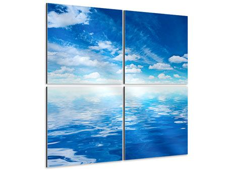 Aluminiumbild 4-teilig Himmel und Wasser