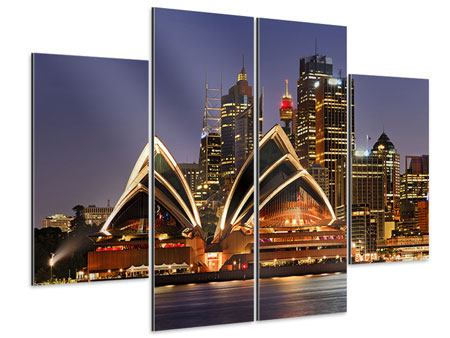 Aluminiumbild 4-teilig Skyline Mit dem Boot vor Sydney