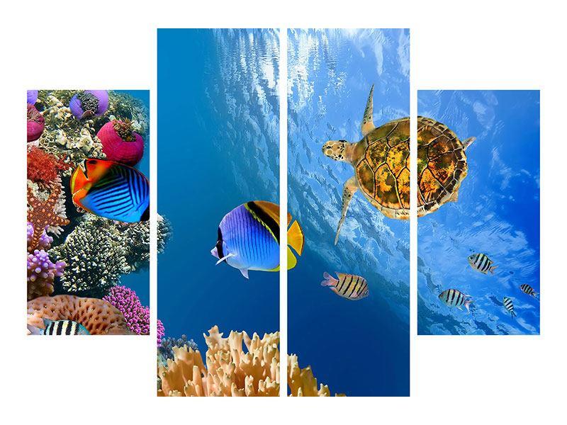 Aluminiumbild 4-teilig Fisch im Wasser