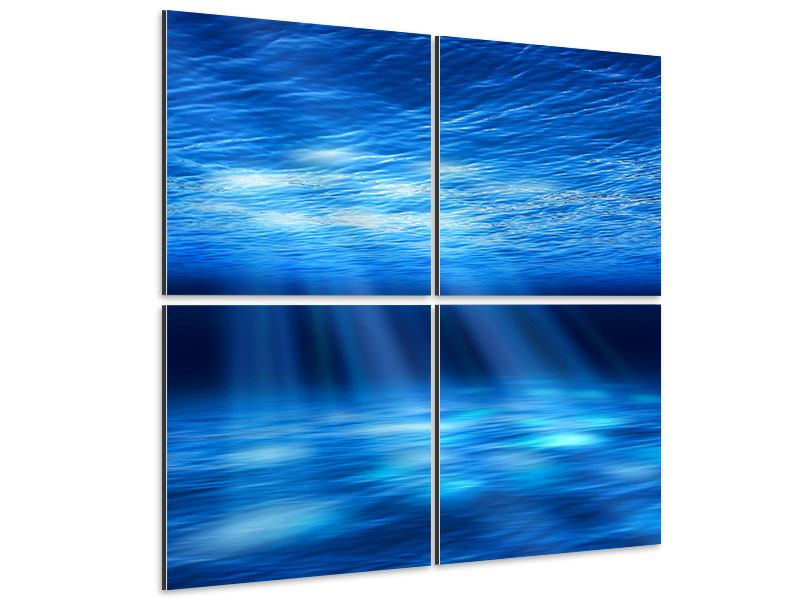 Aluminiumbild 4-teilig Licht unter Wasser