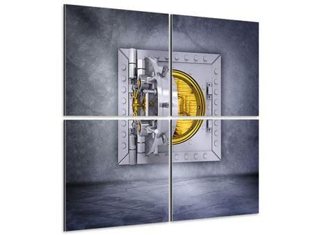 Aluminiumbild 4-teilig Gefüllter Tresor