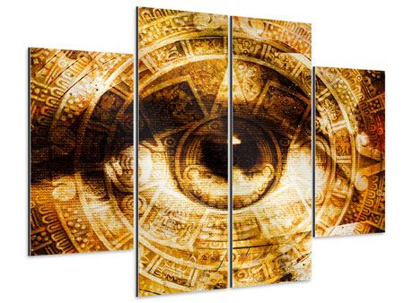 Aluminiumbild 4-teilig Fraktales Auge