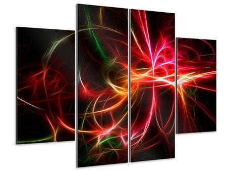 Aluminiumbild 4-teilig Fraktales Lichtspektakel