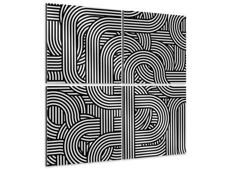 Aluminiumbild 4-teilig 3D Black & White