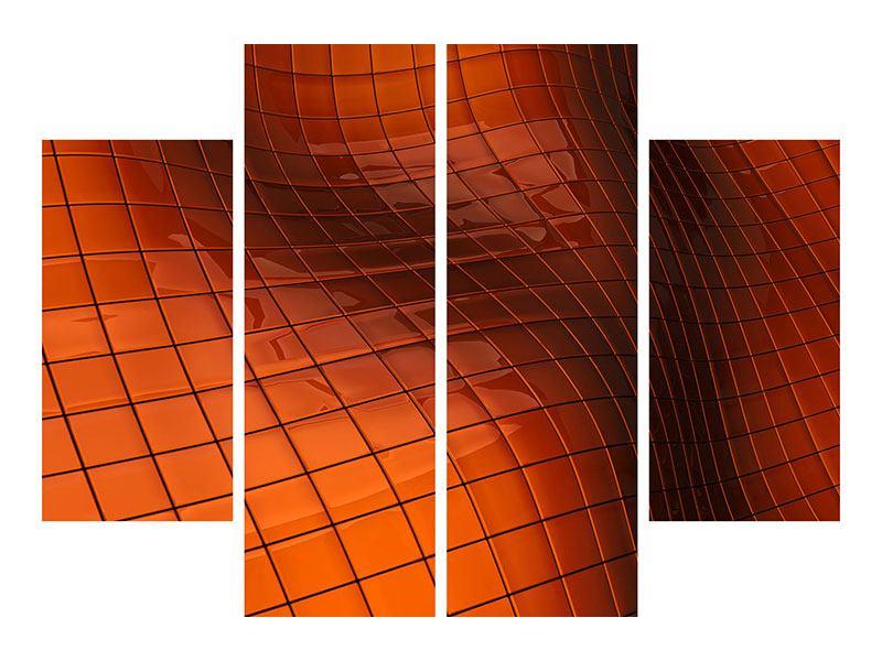 Aluminiumbild 4-teilig 3D-Kacheln