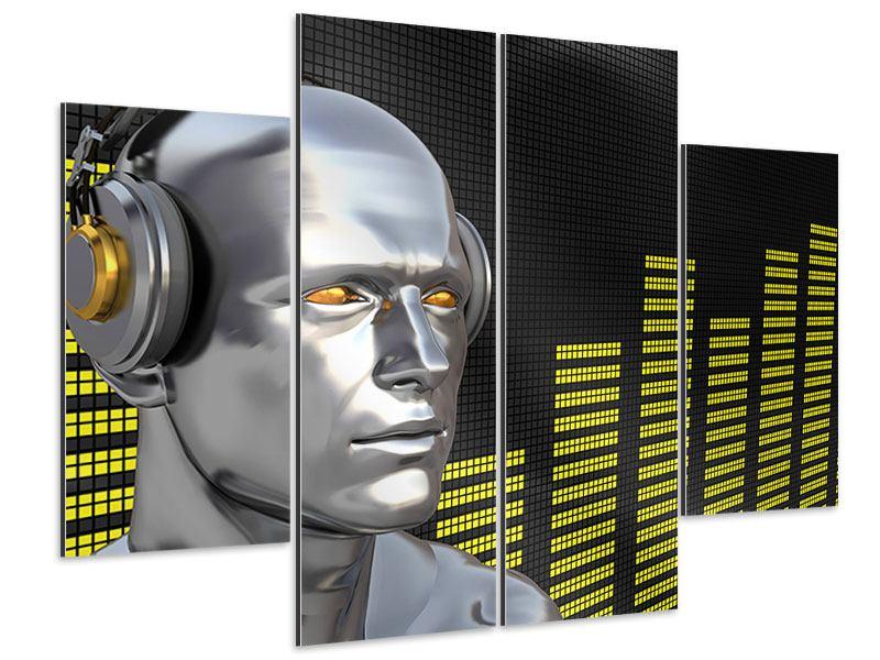 Aluminiumbild 4-teilig Futuristischer DJ
