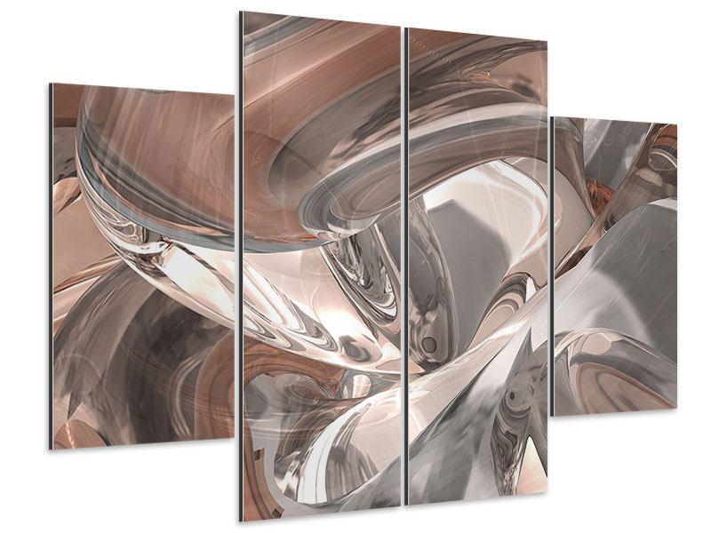Aluminiumbild 4-teilig Abstraktes Glasfliessen
