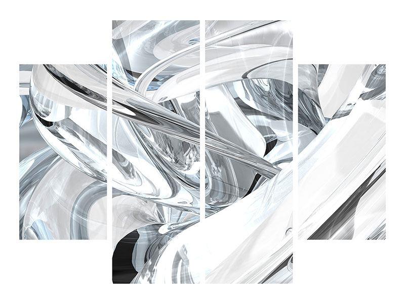 Aluminiumbild 4-teilig Abstrakte Glasbahnen