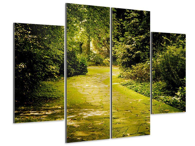 Aluminiumbild 4-teilig Der bemooste Weg