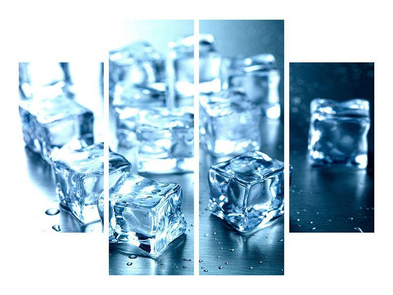 Aluminiumbild 4-teilig Viele Eiswürfel