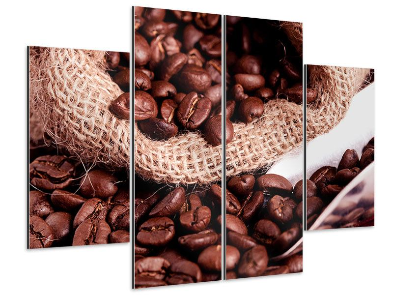 Aluminiumbild 4-teilig XXL Kaffeebohnen