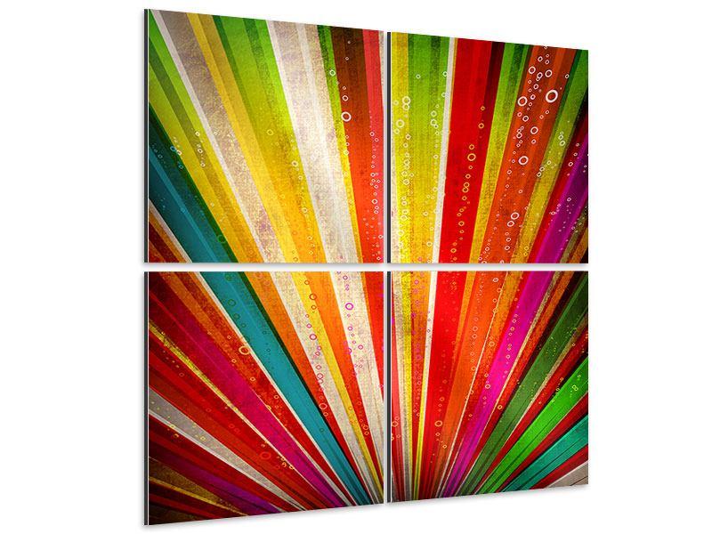 Aluminiumbild 4-teilig Abstrakte Farbstrahlen