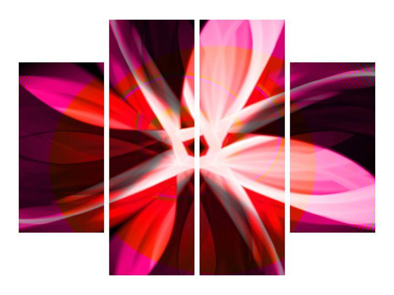 Aluminiumbild 4-teilig Abstrakt Flower Power