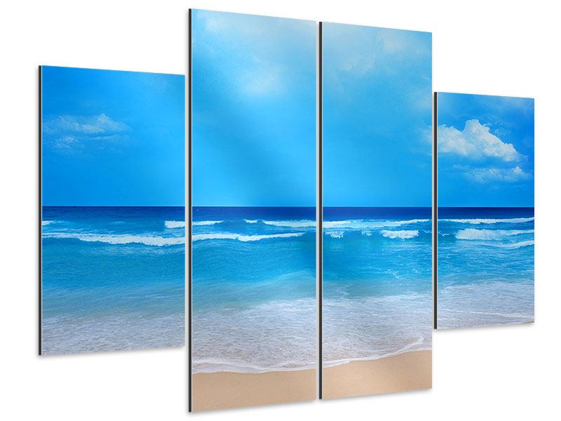 Aluminiumbild 4-teilig Sanfte Strandwellen