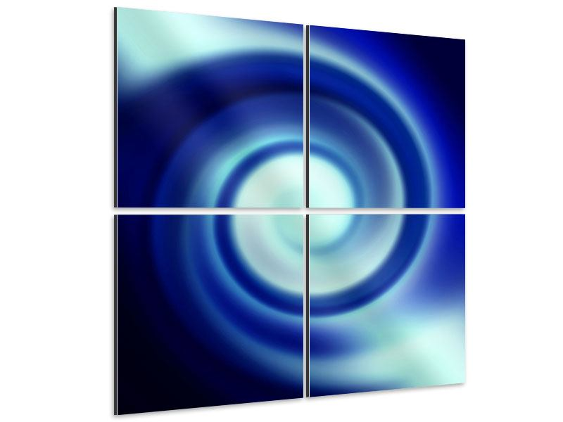 Aluminiumbild 4-teilig Abstrakte Blaue Wirbel