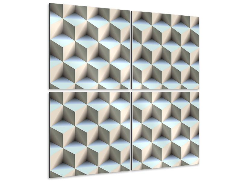 Aluminiumbild 4-teilig 3D-Polytop