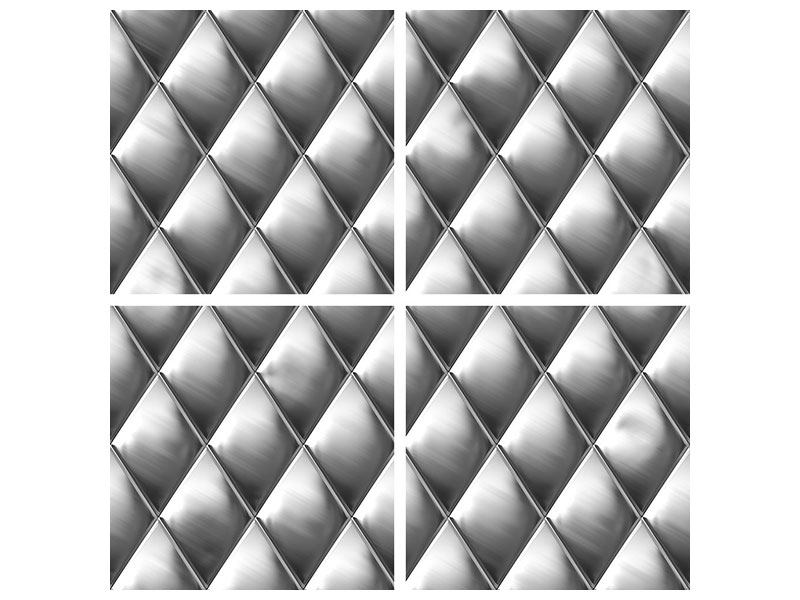 Aluminiumbild 4-teilig 3D-Rauten Silbergrau