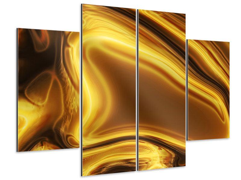 Aluminiumbild 4-teilig Abstrakt Flüssiges Gold