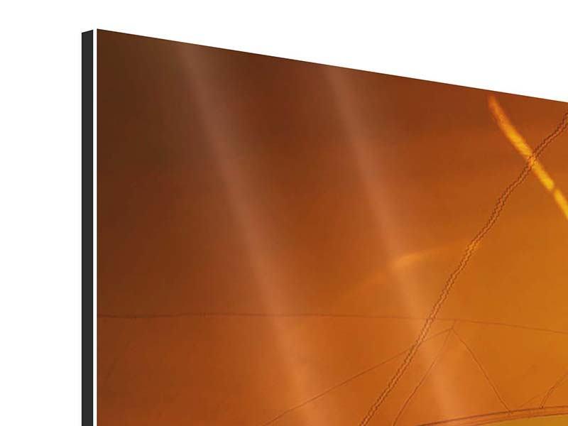 Aluminiumbild 4-teilig Segelboot im Sonnenuntergang