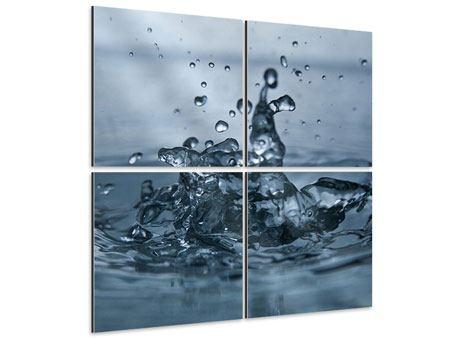 Aluminiumbild 4-teilig Wassertropfen