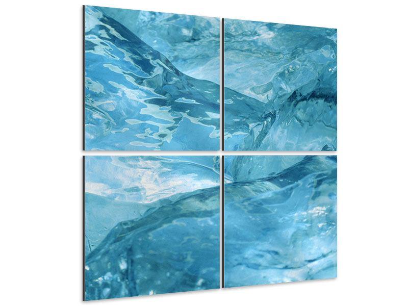 Aluminiumbild 4-teilig Cooler Eislook