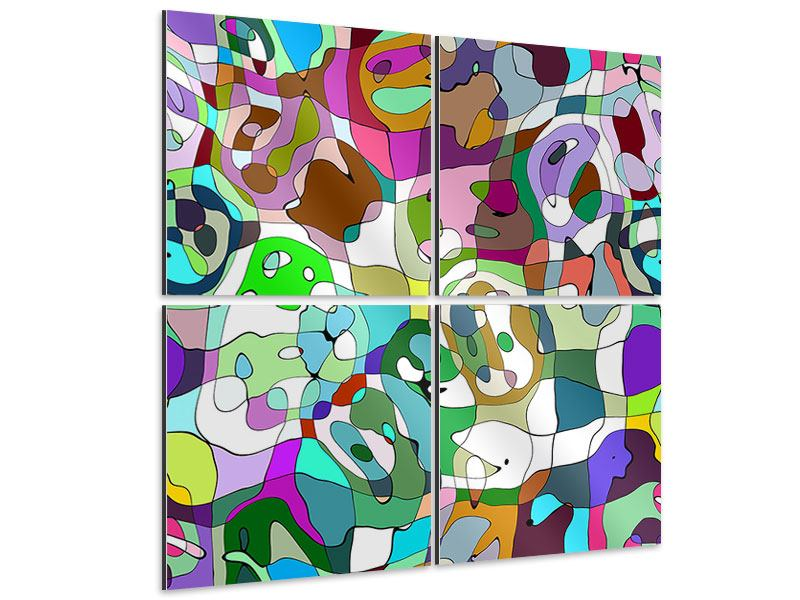 Aluminiumbild 4-teilig Kubistisches Gemälde