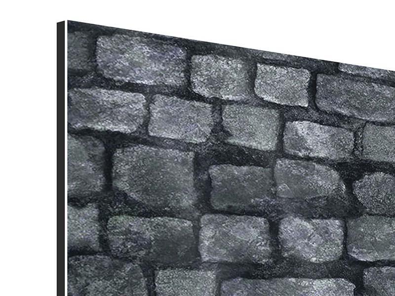 Aluminiumbild 4-teilig Graue Steinmauer