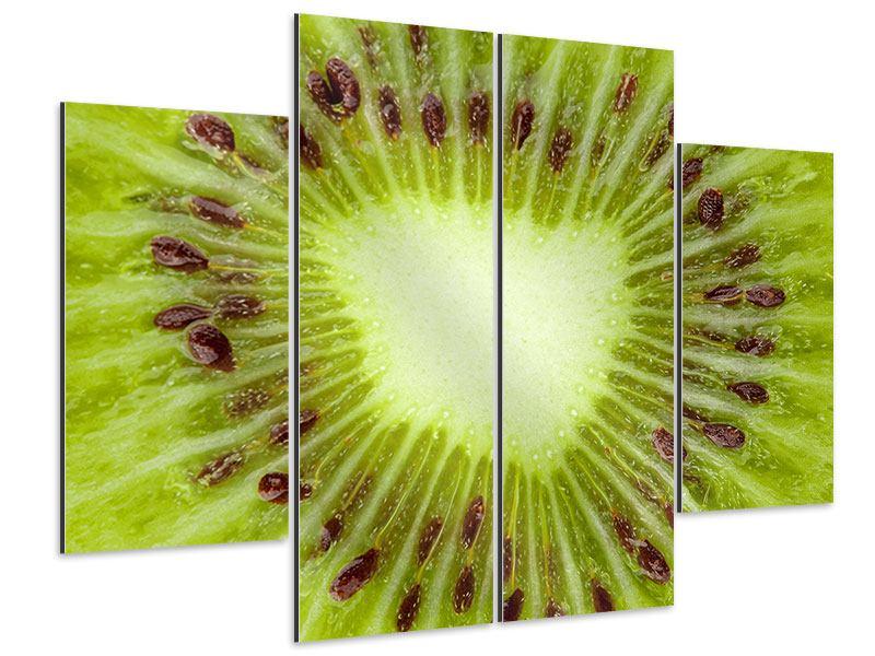 Aluminiumbild 4-teilig Close Up Kiwi