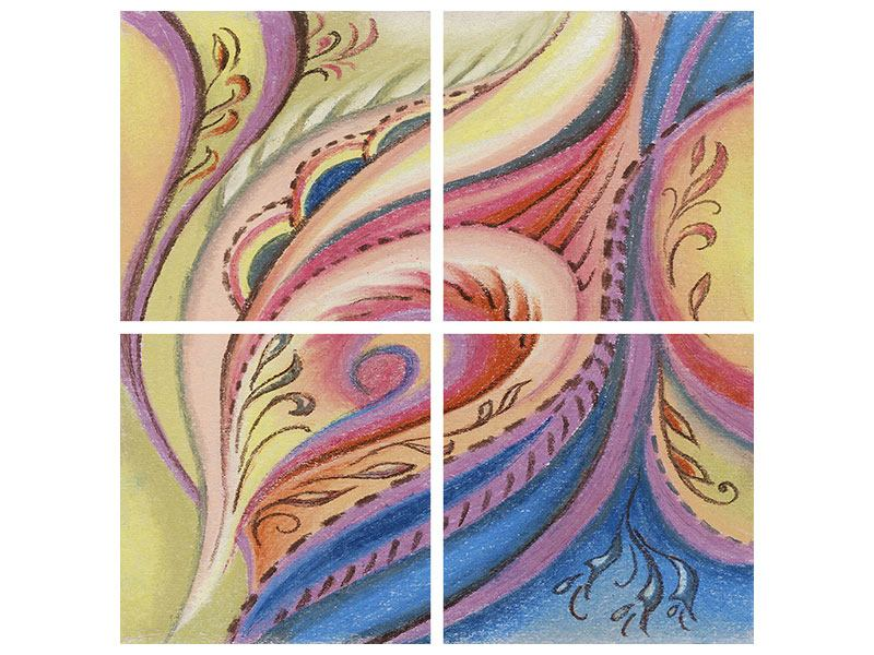 Aluminiumbild 4-teilig Paisley-Malerei